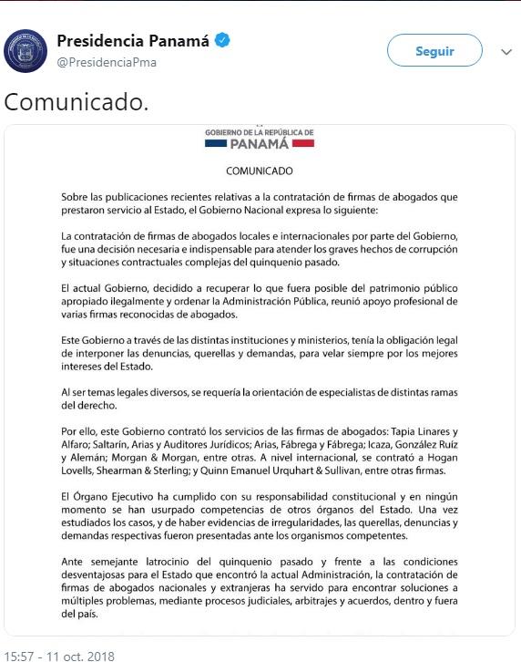 8fc7fcbf540 Comunicado de la Presidencia sobre contratación de abogados